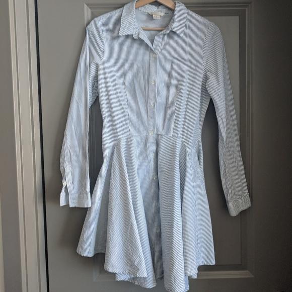 0a94f5a5c H&M Dresses   Blue Striped Hm Trend Shirt Dress   Poshmark